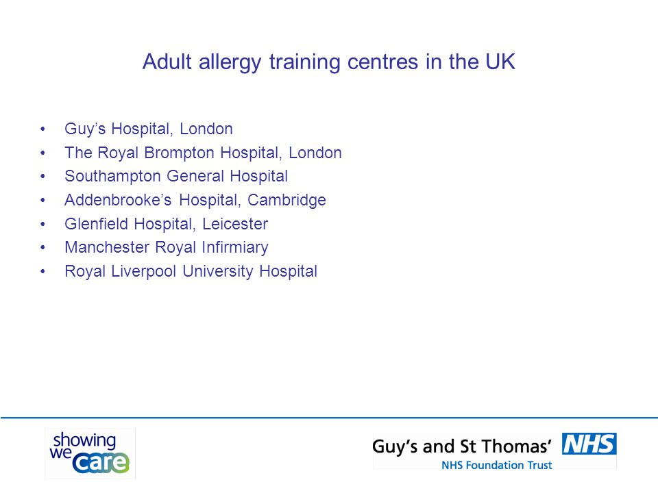 Adult allergy training centres in the UK