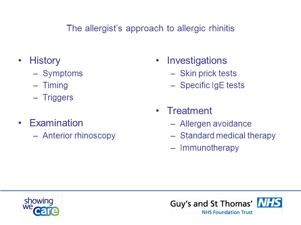 The allergist's approach to allergic rhinitis