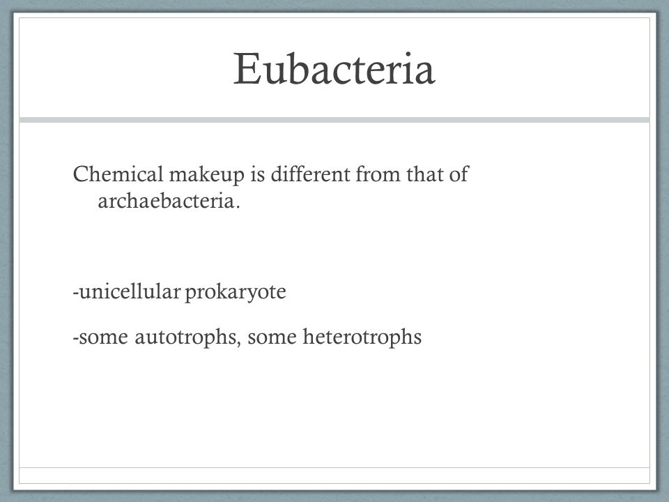 Eubacteria Chemical makeup is different from that of archaebacteria.