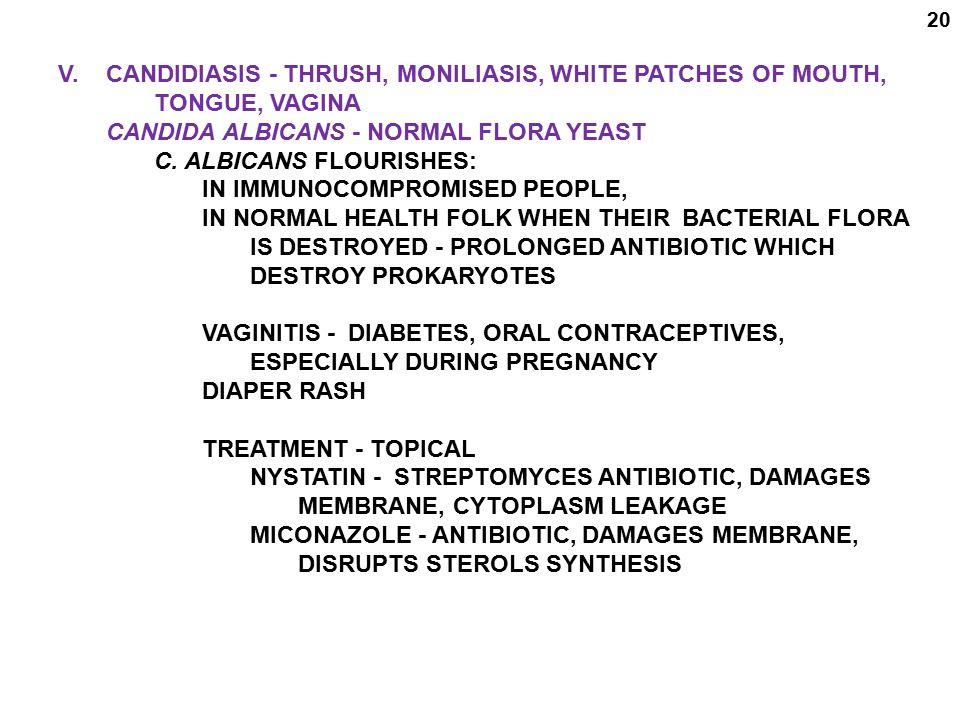 V. CANDIDIASIS - THRUSH, MONILIASIS, WHITE PATCHES OF MOUTH,