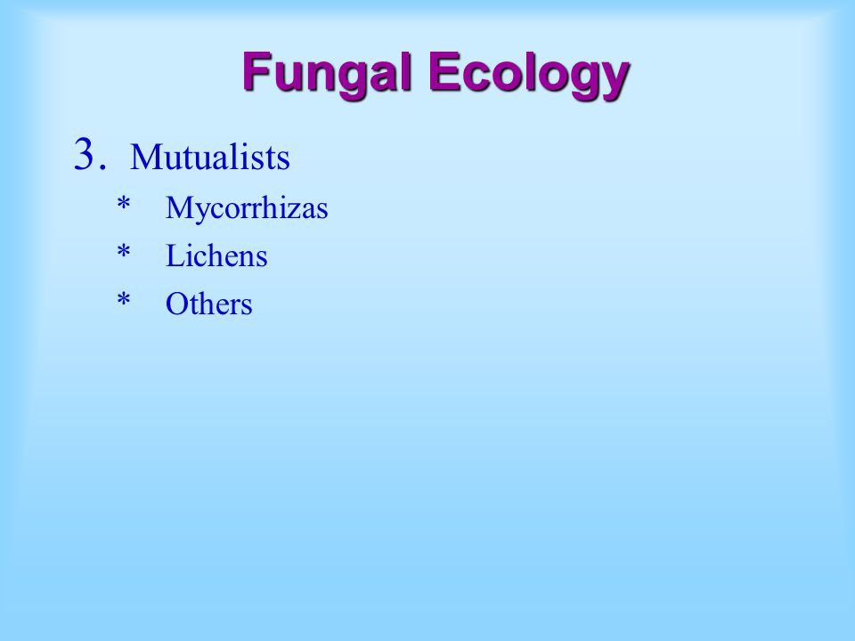 Fungal Ecology Mutualists Mycorrhizas Lichens Others