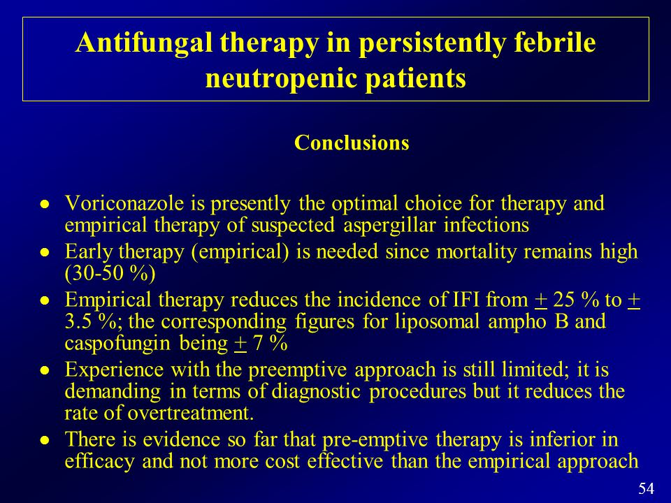 Antifungal therapy in persistently febrile neutropenic patients