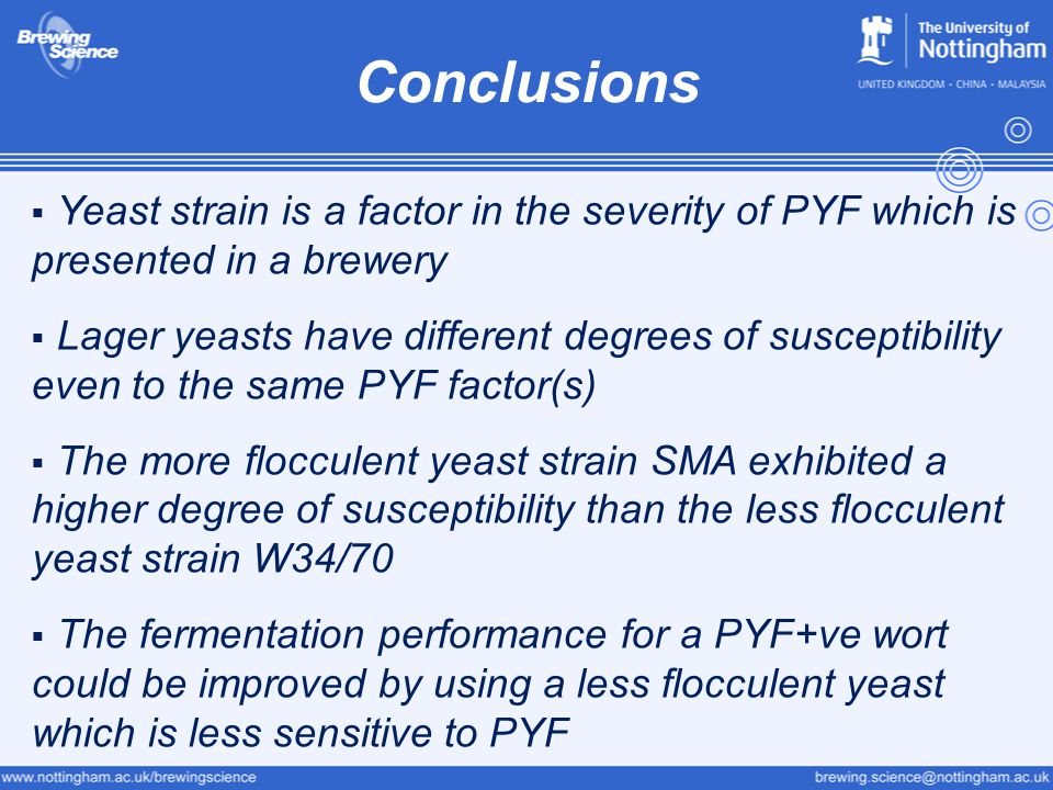 Conclusions Yeast strain is a factor in the severity of PYF which is presented in a brewery.