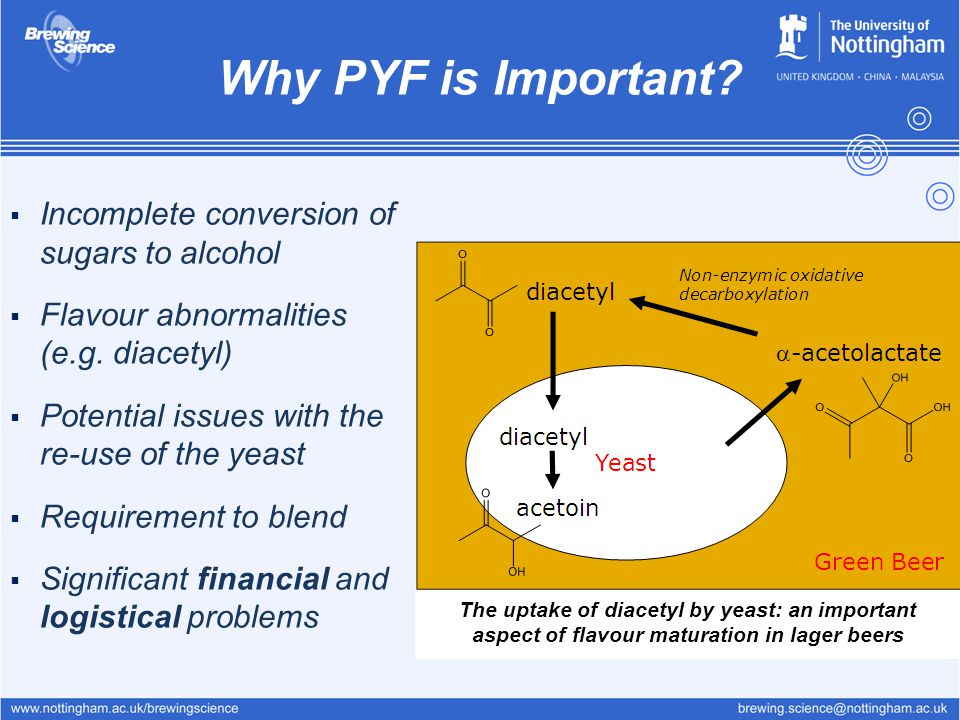 Why PYF is Important Incomplete conversion of sugars to alcohol