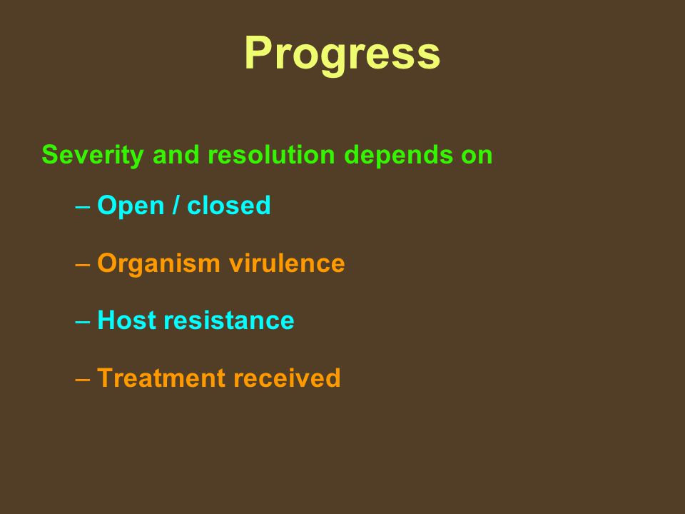 Progress Severity and resolution depends on Open / closed