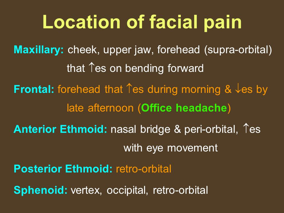 Location of facial pain