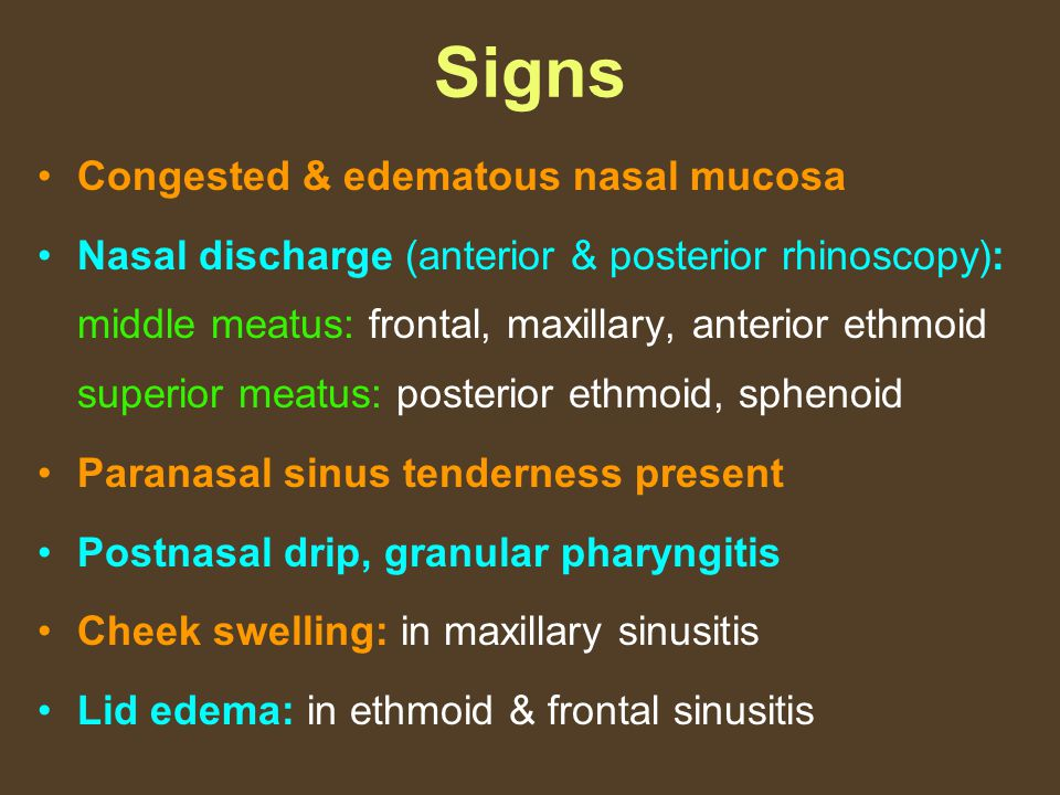 Signs Congested & edematous nasal mucosa
