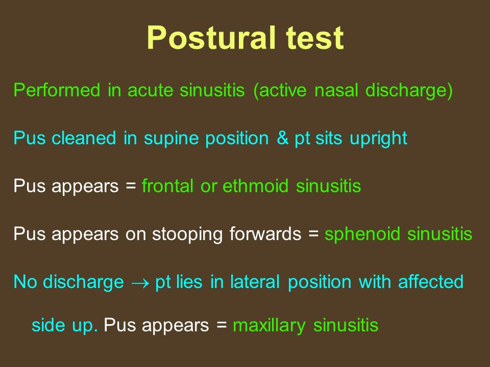 Postural test Performed in acute sinusitis (active nasal discharge)