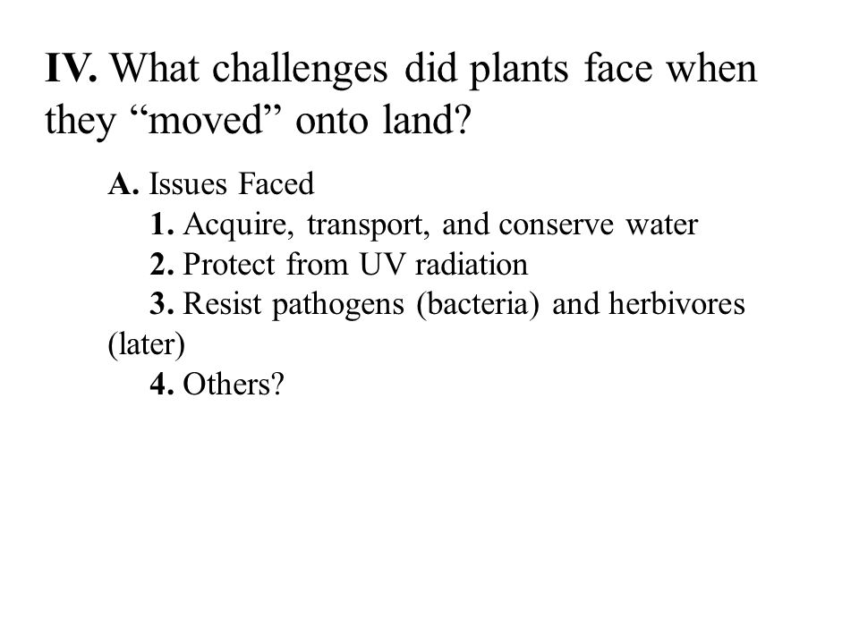 IV. What challenges did plants face when they moved onto land