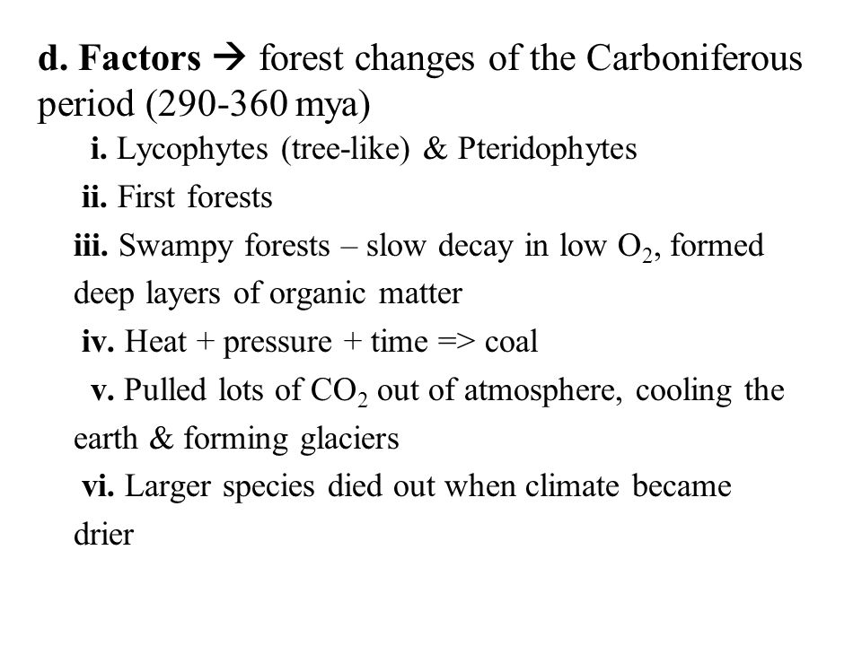 d. Factors  forest changes of the Carboniferous period (290-360 mya)