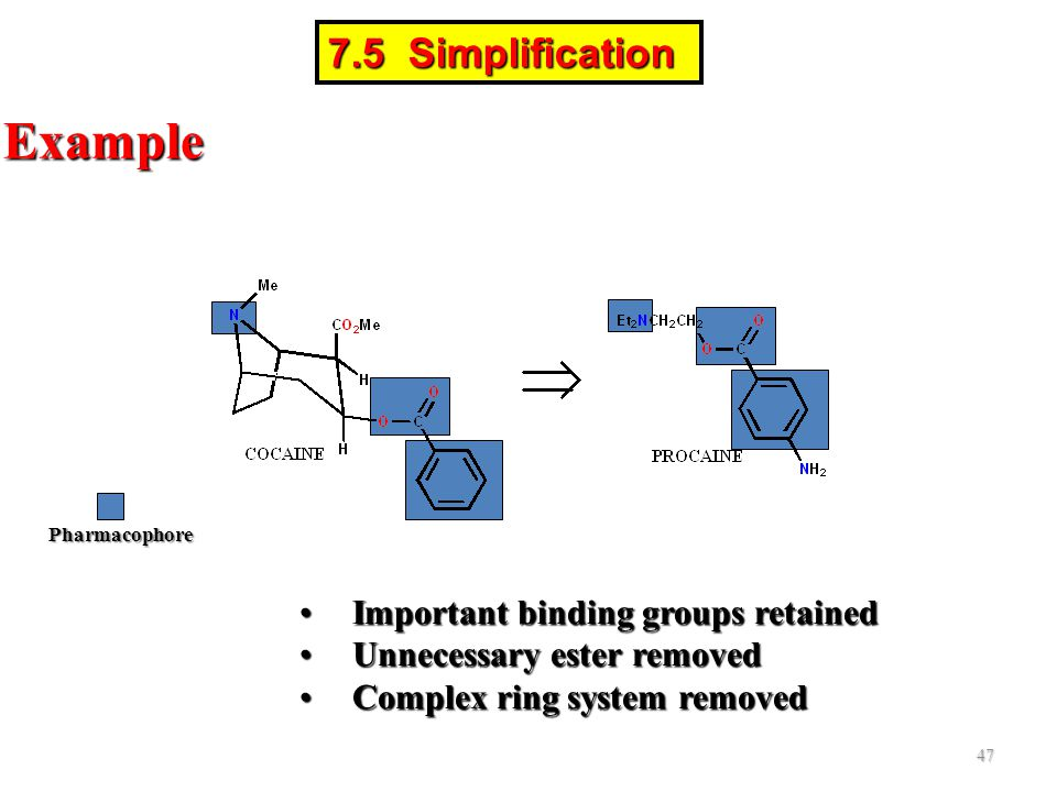Example 7.5 Simplification Important binding groups retained