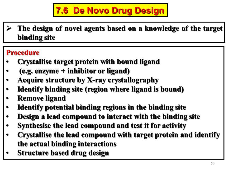 7.6 De Novo Drug Design The design of novel agents based on a knowledge of the target binding site.