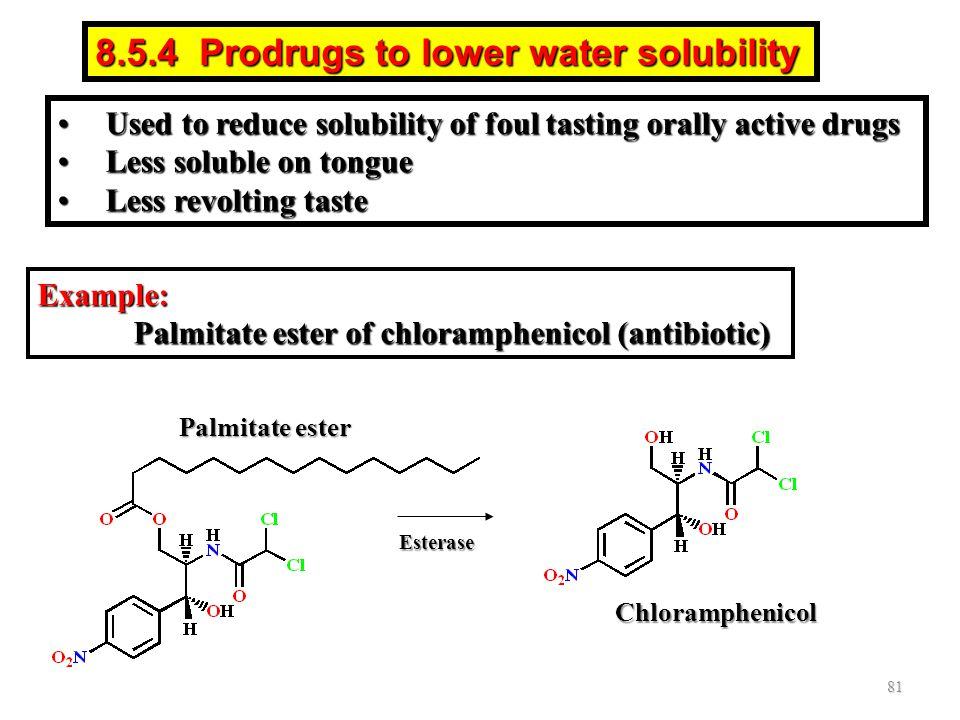 8.5.4 Prodrugs to lower water solubility