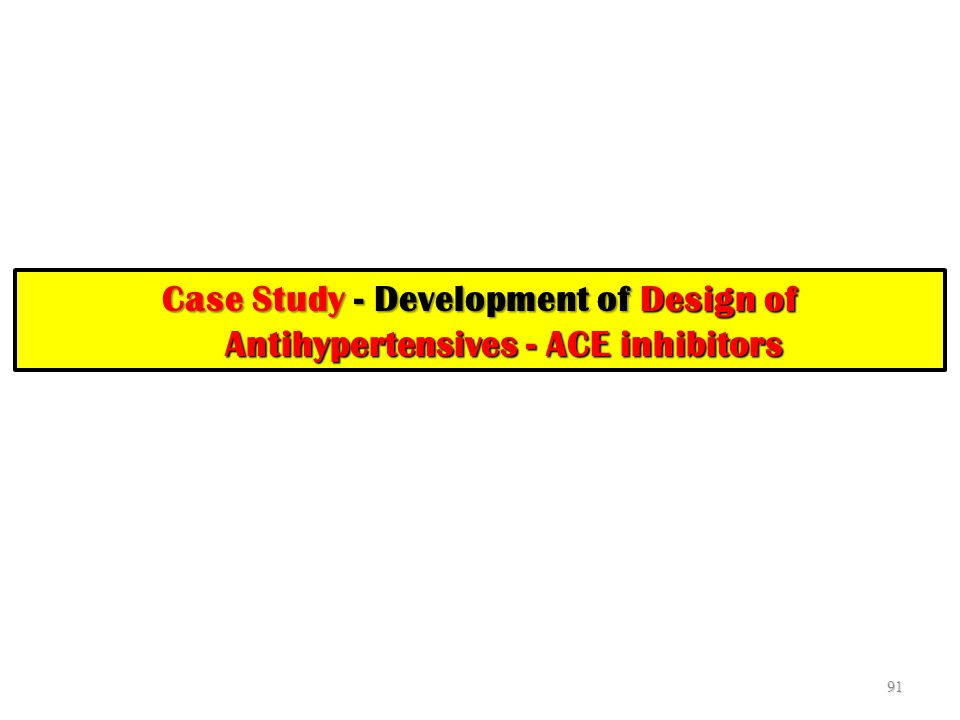 Case Study - Development of Design of Antihypertensives - ACE inhibitors