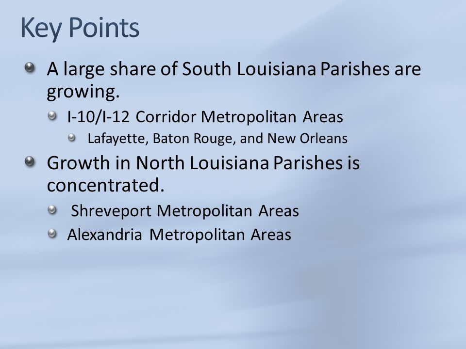 Key Points A large share of South Louisiana Parishes are growing.