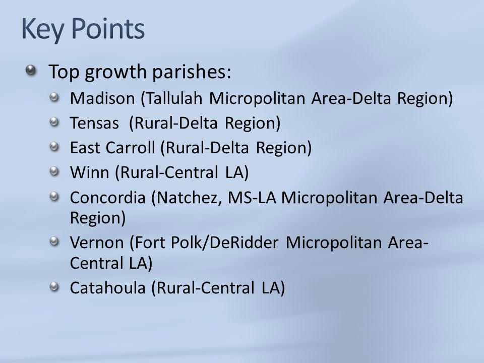 Key Points Top growth parishes: