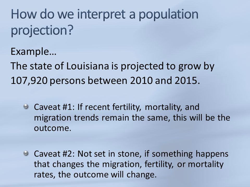 How do we interpret a population projection
