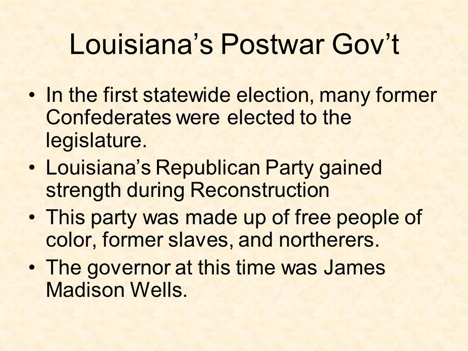 Louisiana's Postwar Gov't