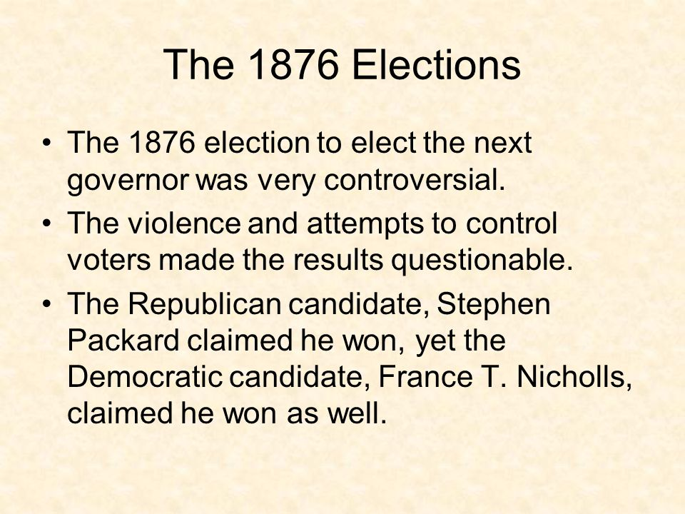 The 1876 Elections The 1876 election to elect the next governor was very controversial.