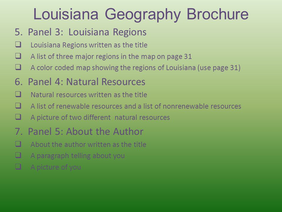 Louisiana Geography Brochure