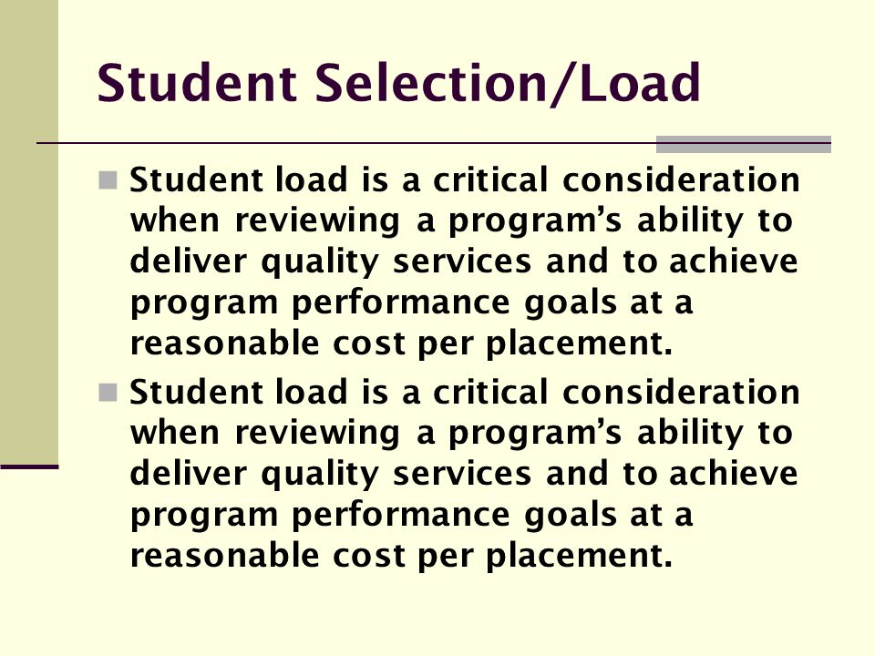 Student Selection/Load
