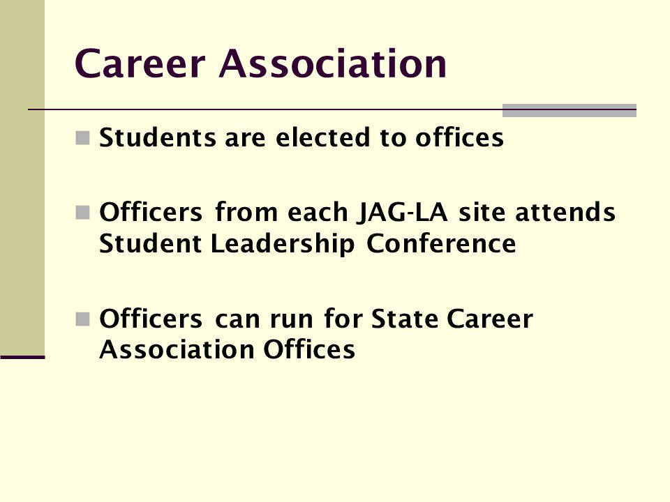 Career Association Students are elected to offices