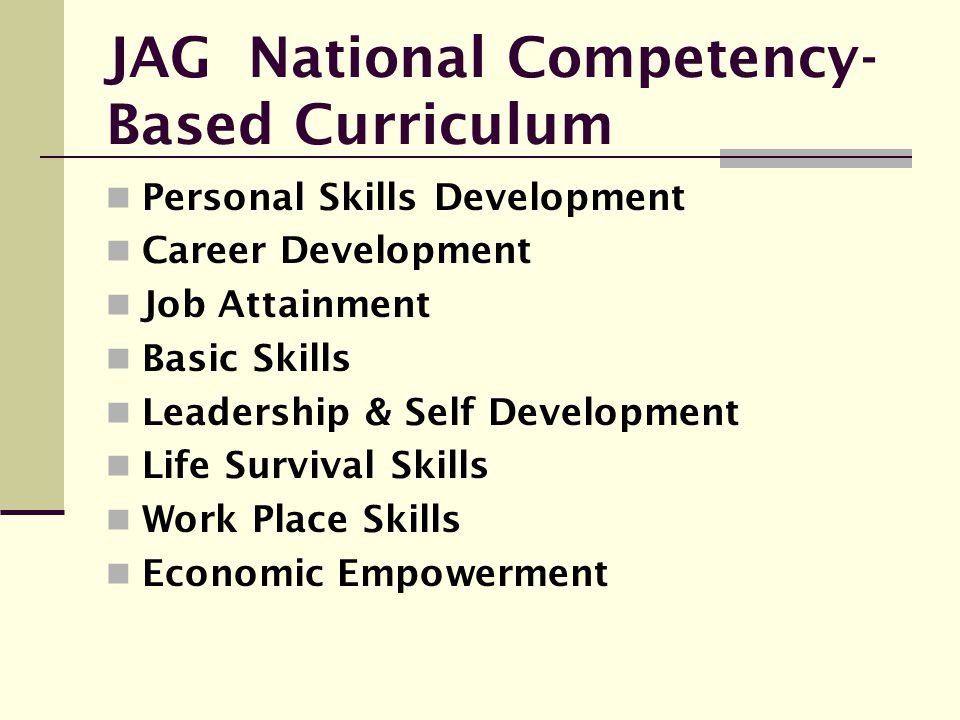 JAG National Competency-Based Curriculum