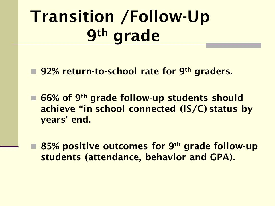 Transition /Follow-Up 9th grade