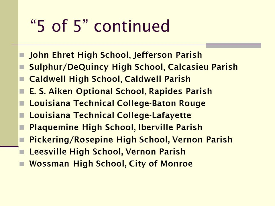 5 of 5 continued John Ehret High School, Jefferson Parish