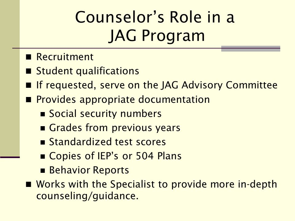 Counselor's Role in a JAG Program
