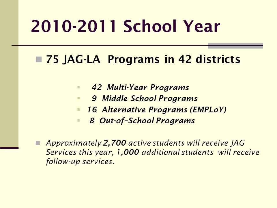 2010-2011 School Year 75 JAG-LA Programs in 42 districts