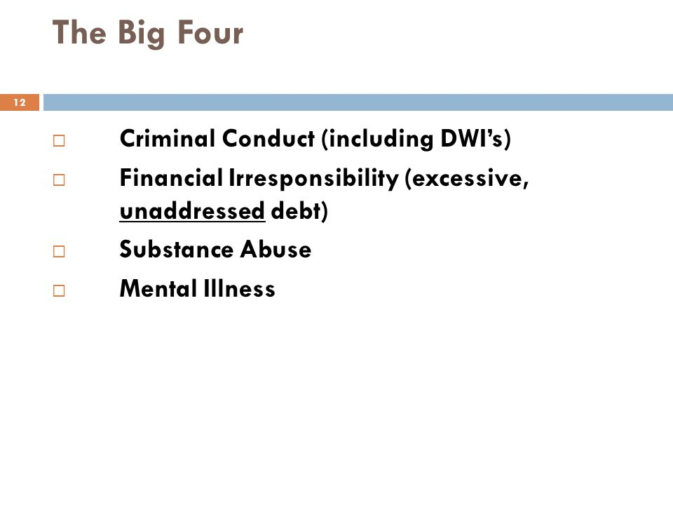 The Big Four Criminal Conduct (including DWI's)
