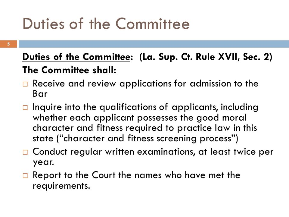 Duties of the Committee