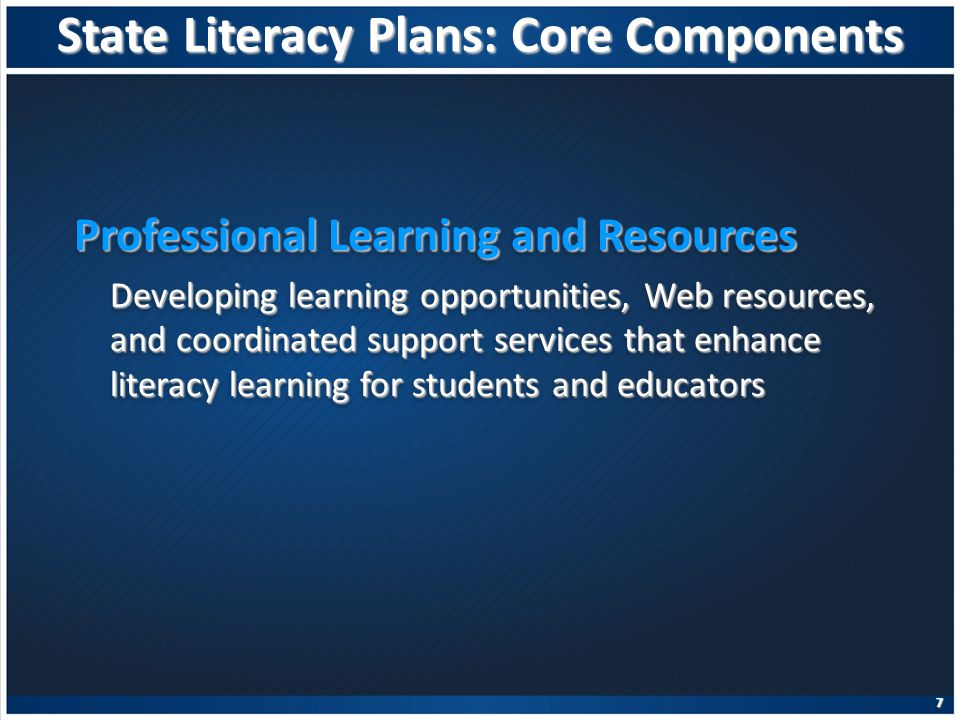 State Literacy Plans: Core Components