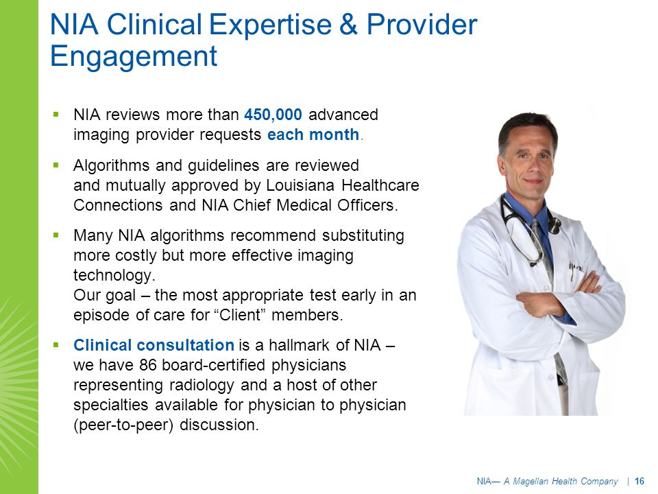 NIA Clinical Expertise & Provider Engagement