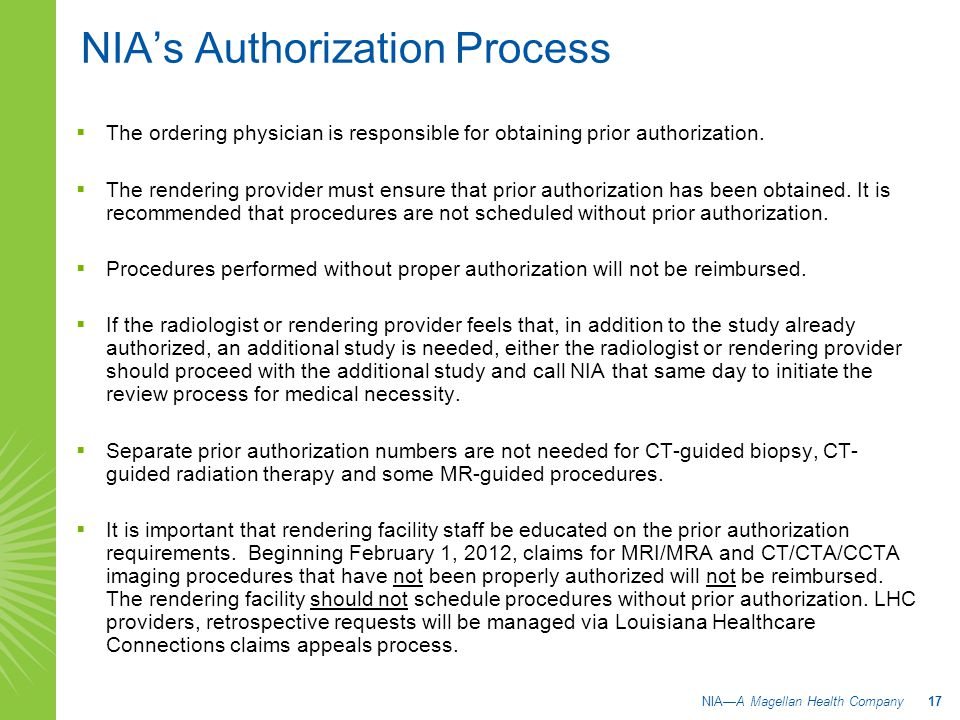 NIA's Authorization Process