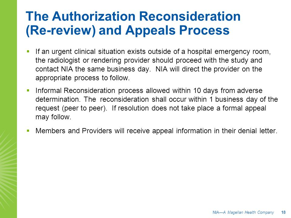 The Authorization Reconsideration (Re-review) and Appeals Process