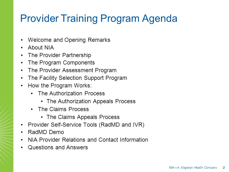 Provider Training Program Agenda