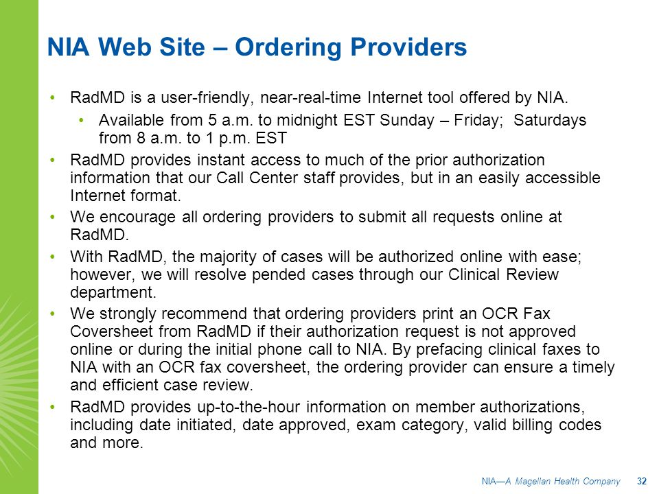 NIA Web Site – Ordering Providers