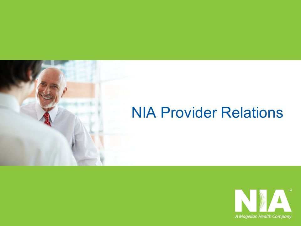 NIA Provider Relations