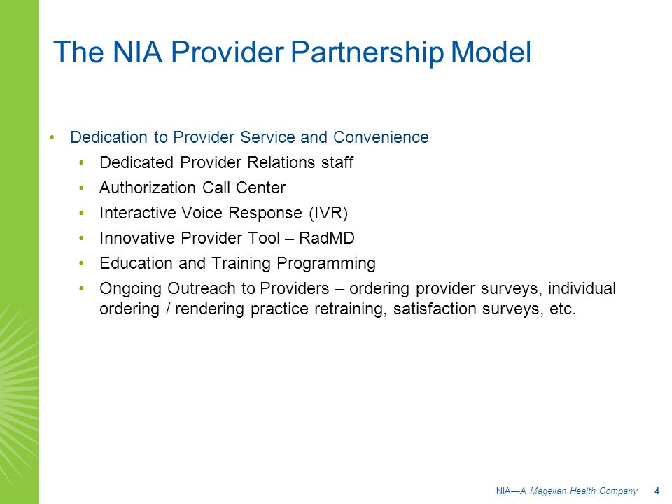 The NIA Provider Partnership Model