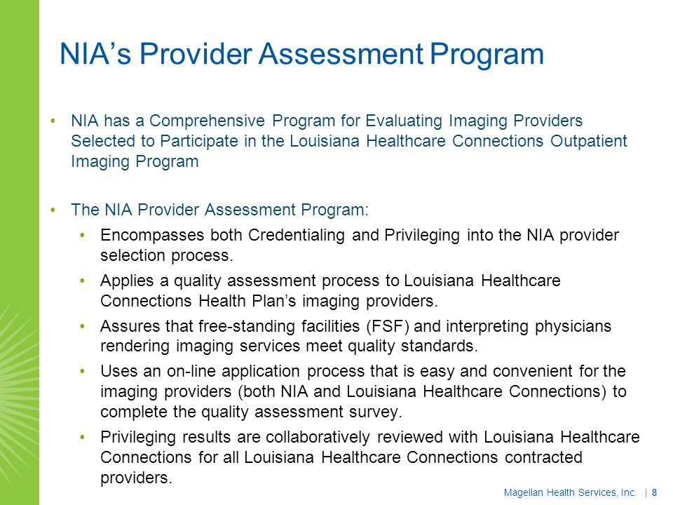 NIA's Provider Assessment Program