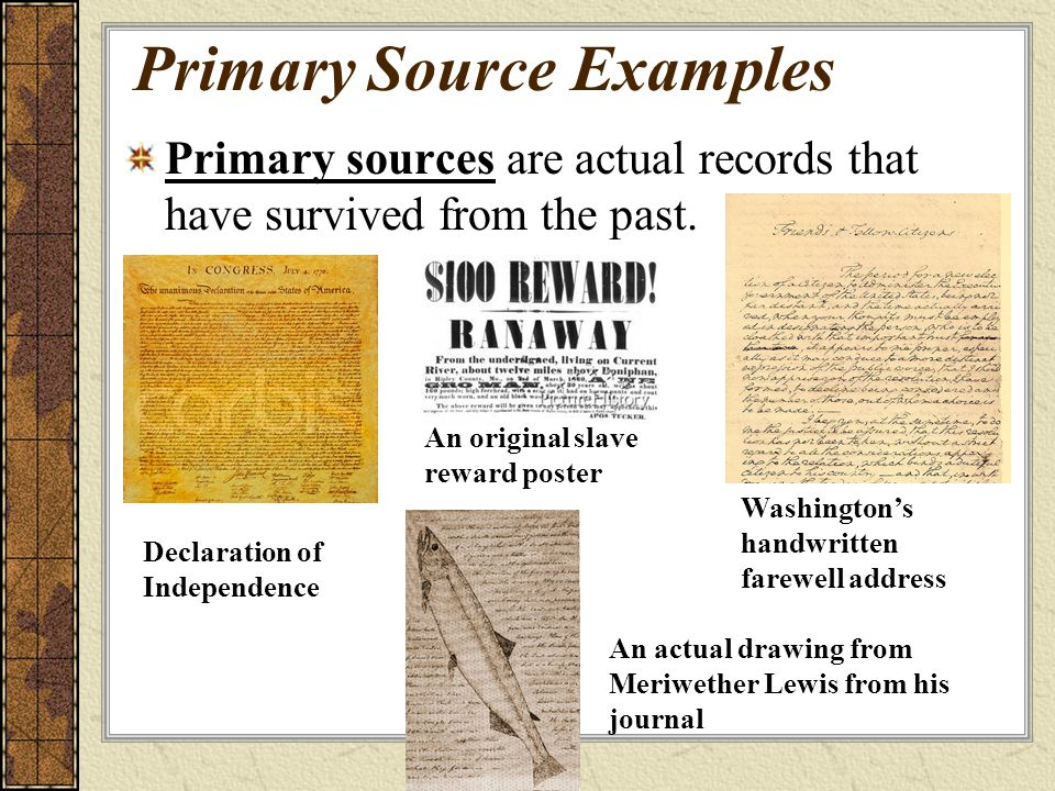 Primary Source Examples
