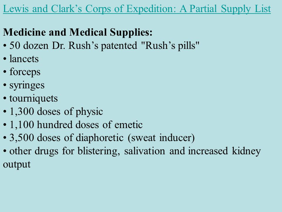 Lewis and Clark's Corps of Expedition: A Partial Supply List