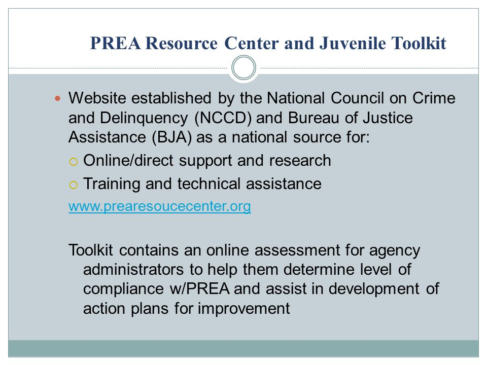 PREA Resource Center and Juvenile Toolkit