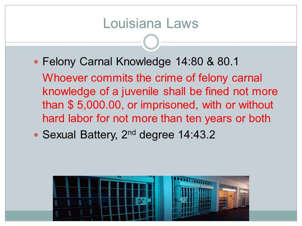 Louisiana Laws Felony Carnal Knowledge 14:80 & 80.1