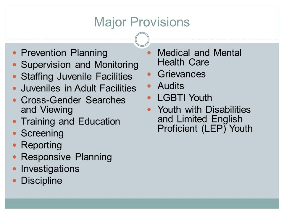 Major Provisions Prevention Planning Medical and Mental Health Care