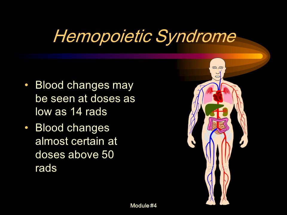 Hemopoietic Syndrome Blood changes may be seen at doses as low as 14 rads. Blood changes almost certain at doses above 50 rads.