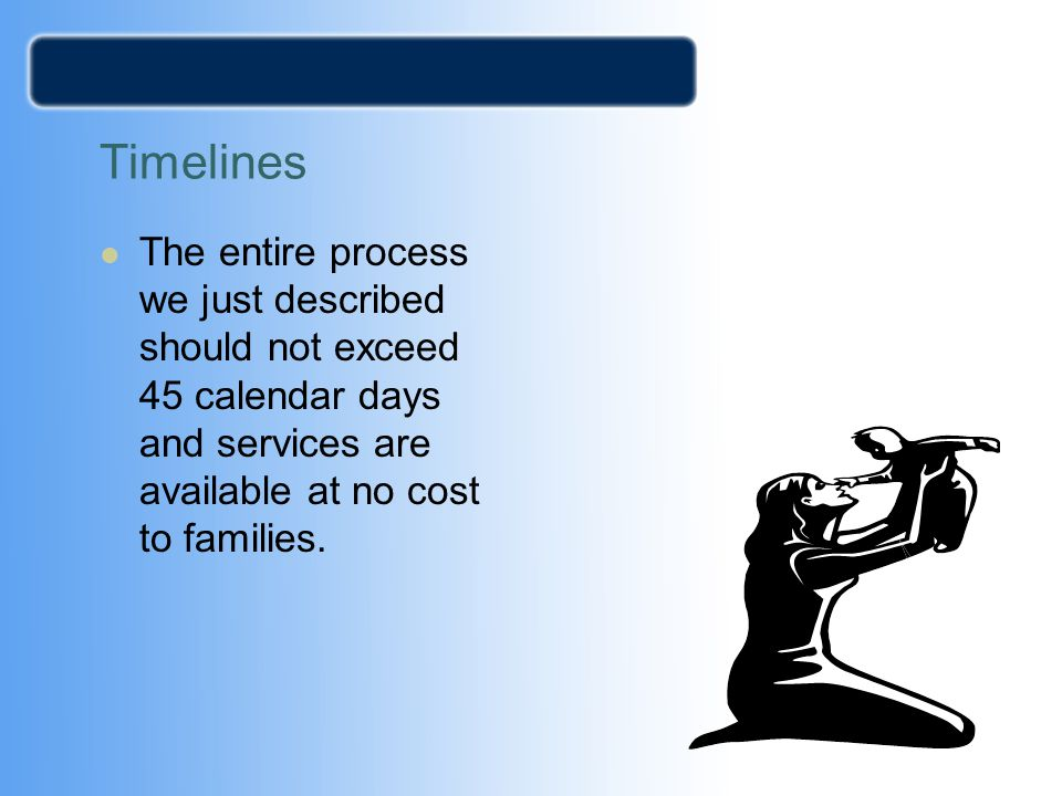 Timelines The entire process we just described should not exceed 45 calendar days and services are available at no cost to families.