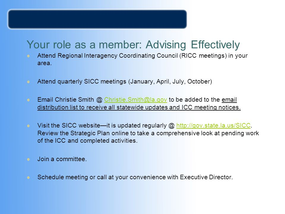 Your role as a member: Advising Effectively
